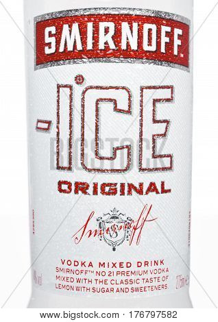 London, Uk - March 15, 2017: Bottle Close Up Logo Of Smirnoff Ice Original On White. Established Aro