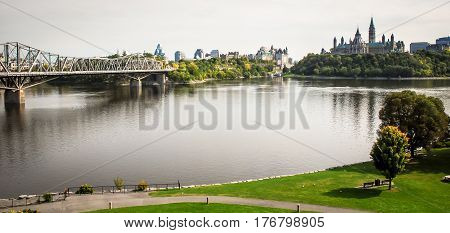view of ottawa skyline in canada on its river