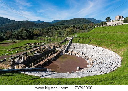 The Theatre in the archaeological site of ancient Messene in Peloponnese, Greece