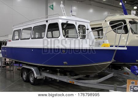 MOSCOW - MARCH 09 2017: Passenger Boat Samara 820 T for 10 International boat show in Moscow. Russia.