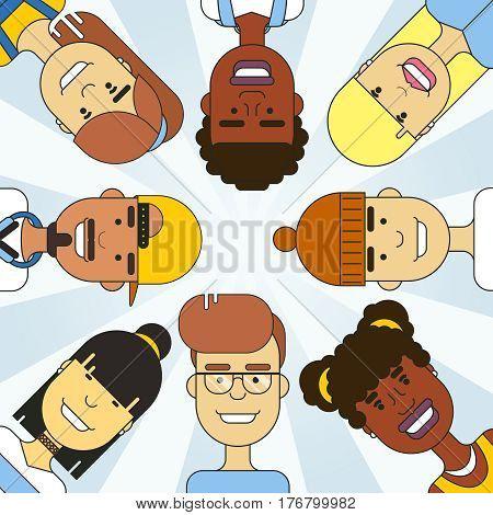 International multicultural people circle vector illustration. International people character travel