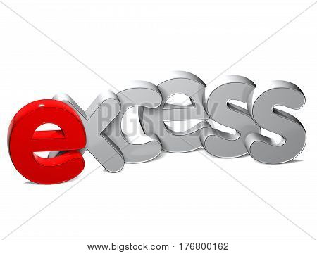 3 D Word Exceed over white background.