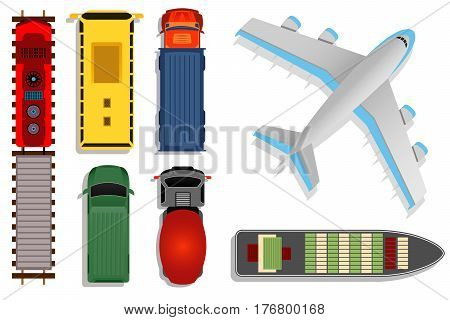 Top view transport vector illustration. Cargo moving by truck and plane, ship and train isolated on white background. Plane and boat with container
