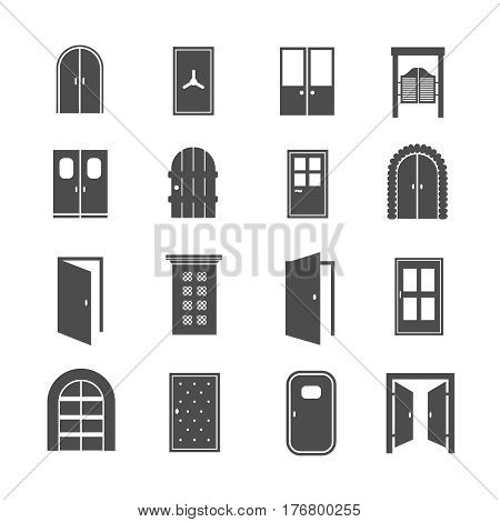Black door icons. Vector open and close, house and safe doors signs isolated on white background. House and office door illustration