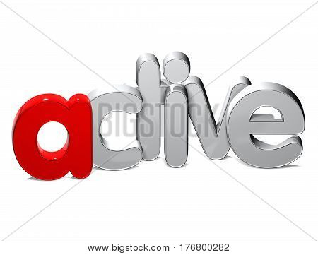 3 D Word Active over white background.