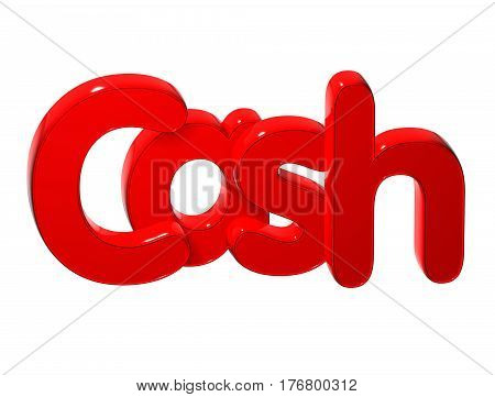3 D Word Cash over white background.