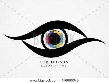 Photographer symbol. Colorful creative eye. Vector illustration