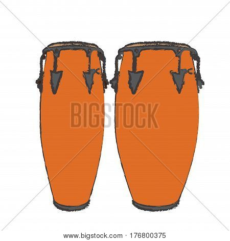 Isolated pair of conga drums, Vector illustration
