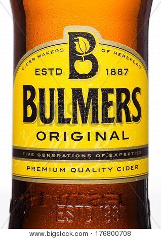 LONDON UK - MARCH 15 2017: Bottle close up logo Of Bulmers Original Cider on a white background with reflection. It is one of the leading British cider brands in the UK