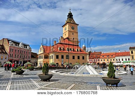 BRASOV ROMANIA - MAY 6: View of town square of Brasov on May 6 2016. Brasov is a capital of Transylvania province of Romania.