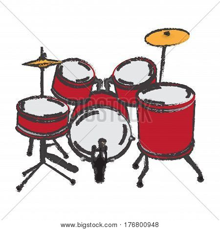 Isolated drum set on a white background, Vector illustration