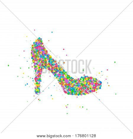 Abstract female shoe splash of colored circles. Vector illustration.
