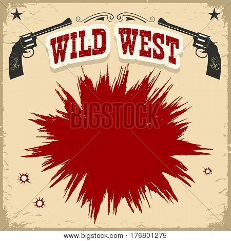Wild West Poster Background With Revolvers And Text