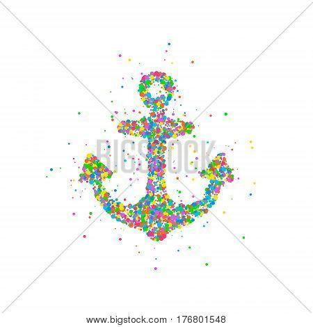 Abstract anchor splash multicolored circles. Vector illustration.