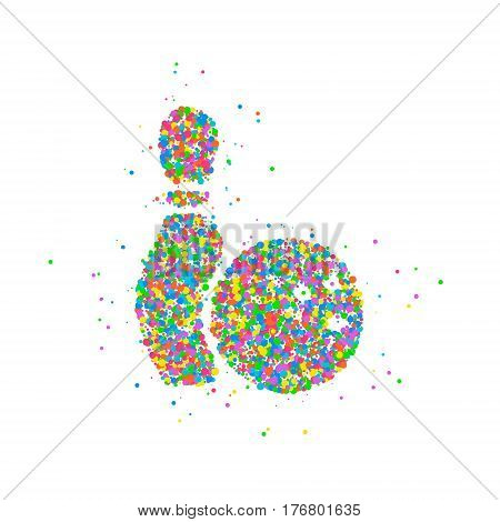 Abstract bowling ball with pin splash of colored circles. Vector illustration.