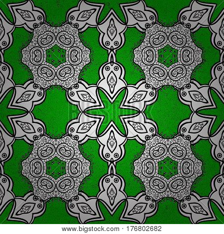 Classic vector green and golden pattern. Traditional orient ornament. Classic vintage background.