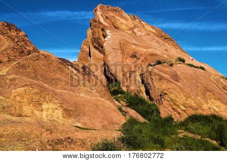 Rocks uplifted from the San Andreas Fault taken at Vasquez Rocks in the Mojave Desert, CA