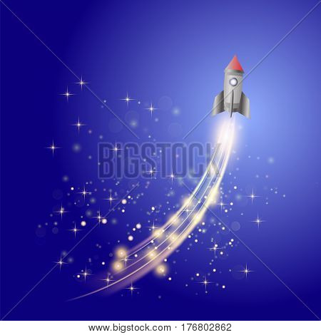 Space Rocket on Blue Sky Background . Launching Spacecraft.