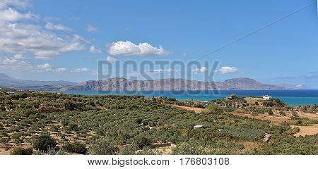 A view of the Drapano Peninsula, Crete, from the North Coast with Akrotiri  visible behind it