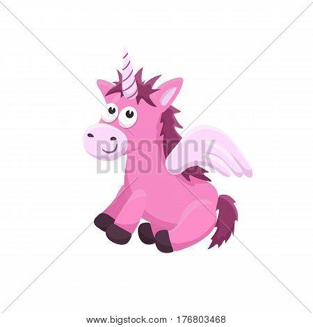 Adorable unicorn illustration. Cute cartoon animal isolated on white background.
