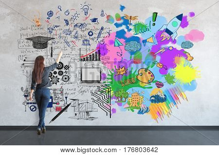 Creative and analytical thinking concept. Back view of young woman in room writing mathematical formulas and drawing colorful sketch