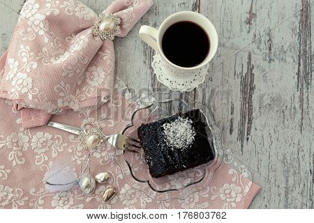 Brownie Cake And Coffe Above View