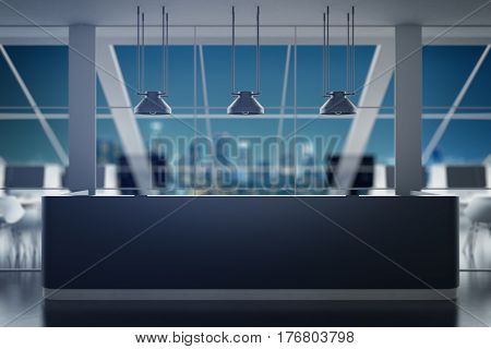 Black reception desk in contemporary interior with night city view. Office concept. 3D Rendering