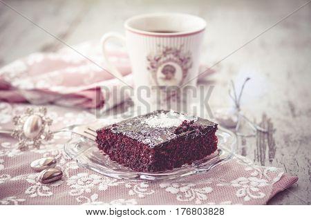 Brownie Cake And Coffe Vintage