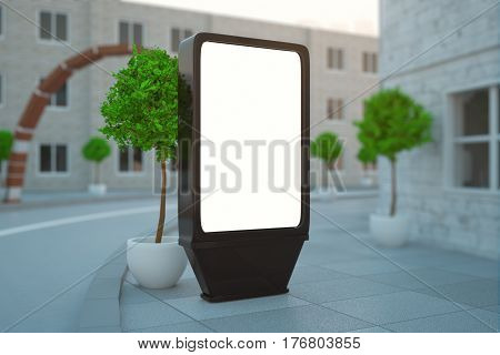 Side view of blank billboard on beautiful street with trees. Ad concept. Mock up 3D Rendering