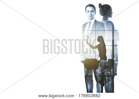 Young businessman and woman on white office background with copy space. Employment concept. Double exposure