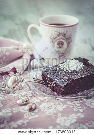 Brownie Cake And Coffe Vintage Style Vertical