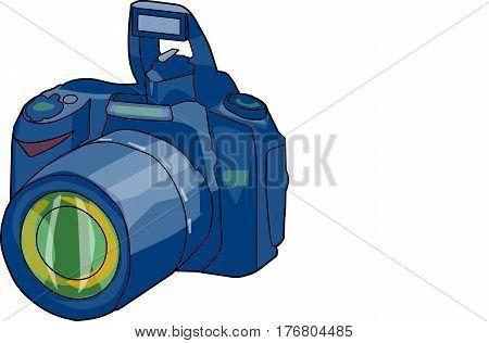 The dark blue camera on a white background.