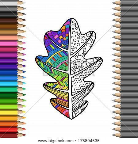Handmade Oak Leaf with Zentangl Pattern in Frame of Colorful Pencils. Bright Rainbow Leaf for Cover of Coloring Book.