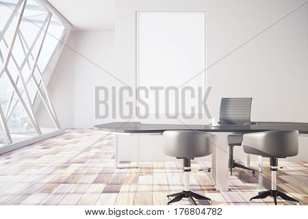 Front view of modern meeting room with empty rectangular picture frame and equipment. Mock up 3D Rendering