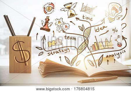 Close up of workplace with supplies and abstract business sketch. Money concept