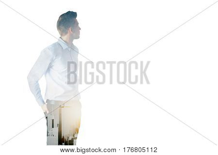 Side view of handsome businessman on white city background with copy space. Double exposure