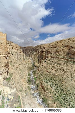 View of the stony canyon in the Judean Desert near Bethlehem. Israel