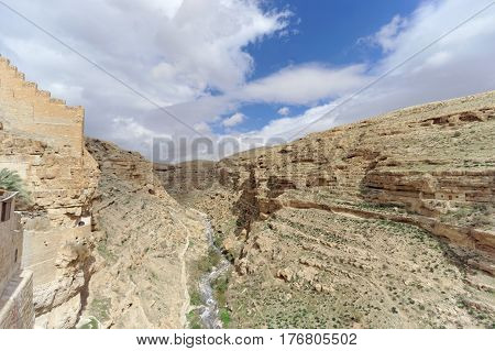 Bethlehem, Israel. - February 14.2017. View of the rocky gorge from the balcony in the Lavra of Savva Sanctified in the Judean Desert