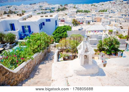 Top view of the old city, the port and the ocean on the island of Mykonos, Greece.