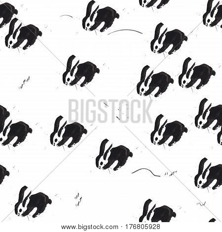 Brush splatter, black pen art in infantile childish style. Beautiful scratched paper background with blots and hares good for T-shirt, textile, fabric print