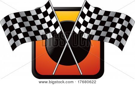 racing checkered flags on glossy gold icon