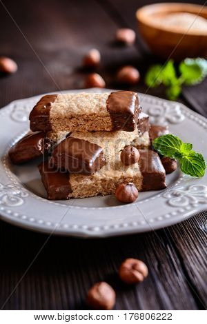 Hazelnut Shortbread Sticks Dipped In Chocolate