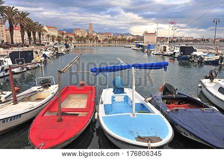SPLIT CROATIA - FEBRUARY 18: Colorful boats over Split old town Croatia on February 18 2017. Split is a capital of Dalmatia region of Croatia.