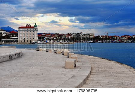 SPLIT CROATIA - FEBRUARY 18: Seafront and port of Split city Croatia on February 18 2017. Split is a capital of Dalmatia region of Croatia.
