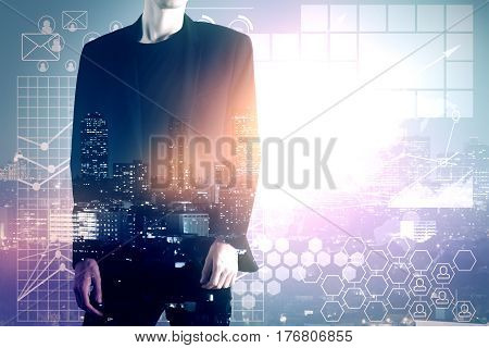 Businessman on abstract city background with business charts. Employment concept. Double exposure