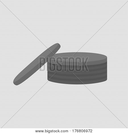 stack of coins isolated on grey background