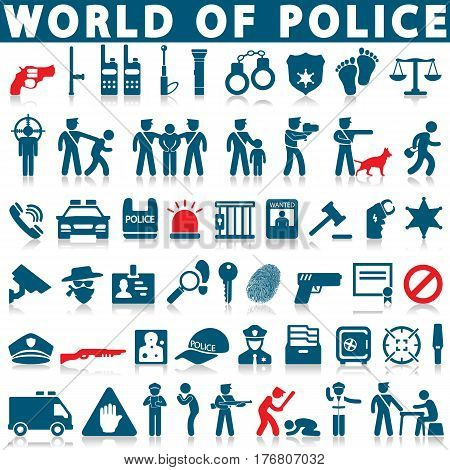 police and law icons on a white background with a shadow