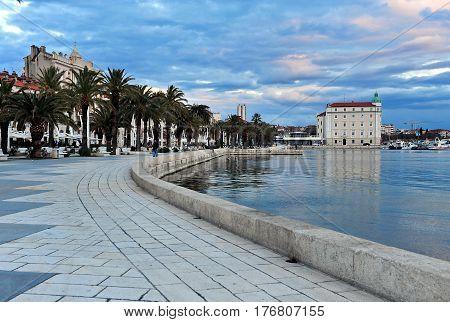 SPLIT CROATIA - FEBRUARY 18: View of historical centre of Split city on February 18 2017. Split is a capital of Dalmatia region of Croatia.