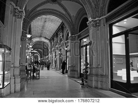 VIENNA AUSTRIA - FEBRUARY 11: Interior of Ferstel Passage in Vienna on February 11 2017.