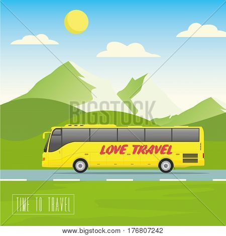 Yellow bus goes on the highway. Mountains, road and clouds landscape vector illustration.